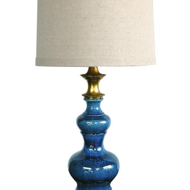 Vintage 1960s Double-baluster Sapphire-blue Drip Glaze Lamp
