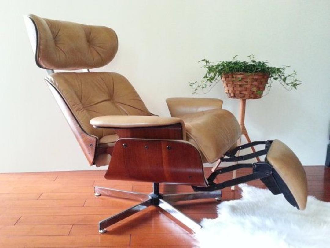 Charles Eames Style For Plycraft Recliner With Built In