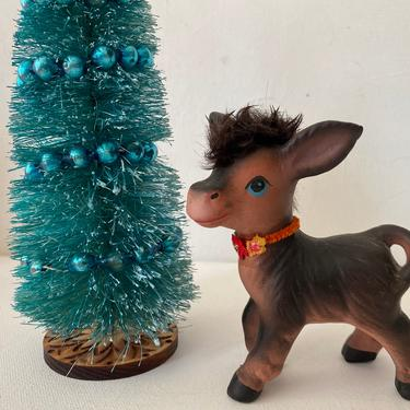 Vintage Enesco Donkey With Fur Mane, Brown Donkey With Flower Collar by luckduck