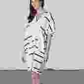 Oversized V Dress Cream Broken Stripe