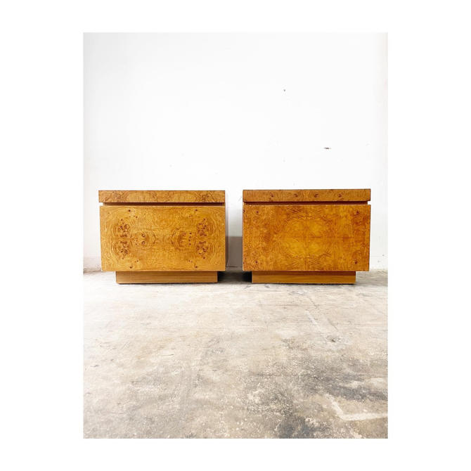 Pair Burlwood Nightstands or End Tables by Lane by FlipAtik