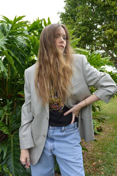 vintage calvin klein blazer / vintage calvin klein sportcoat / vintage grey blazer / vintage grey sportcoat / windowpane blazer / by memoryjunkievintage