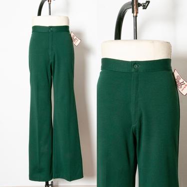 1970s Levi's Deadstock Green Knit Pants Wide Leg by dejavintageboutique