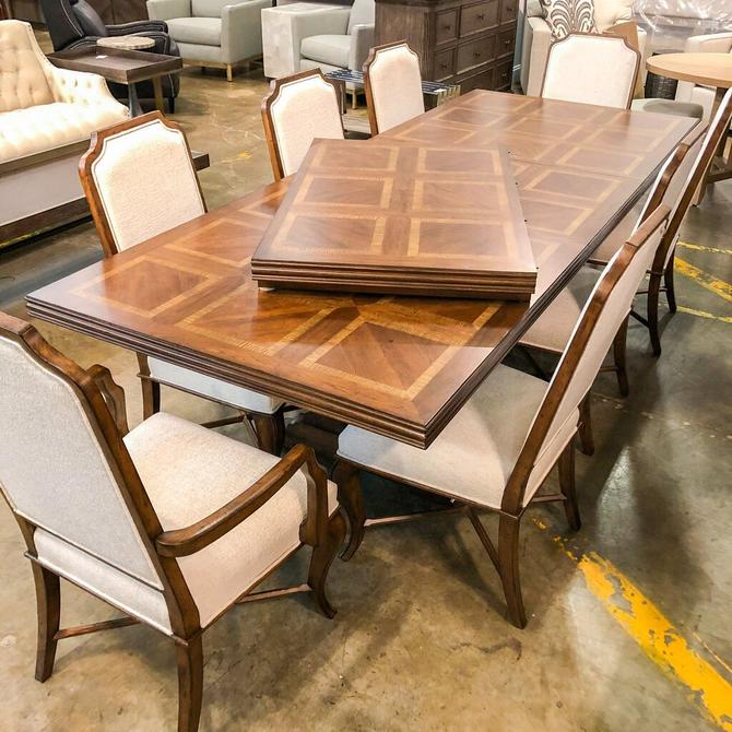 Rectangular Expandable Dining Table W/ 10 Chairs