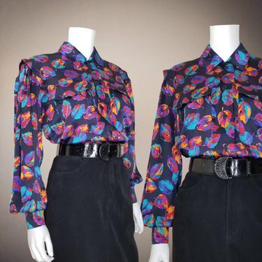 Vintage Silk Escada Blouse, Extra Large / Colorful Pop Art Print Blouse / 1980s Satin Button Blouse / Multi Color Leaf Volup Cocktail Blouse by SoughtClothier