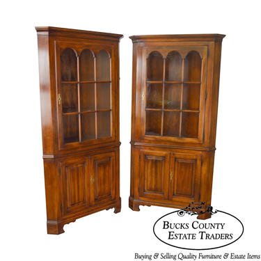 Statton Solid Cherry Pair of Oxford Chippendale Style Corner Cabinets by BucksEstateTraders