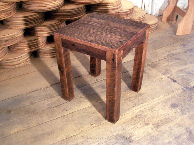 Solid Oak Rustic Parsons Style End Table by StrongOaksWoodshop