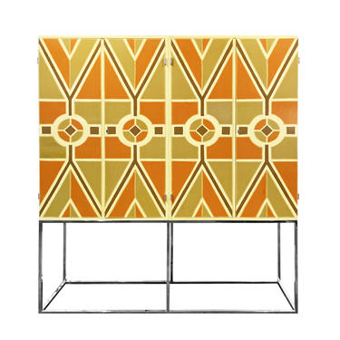 Tommi Parzinger Rare 4 Door Lacquered Cabinet with Chrome Base 1960s (Signed)