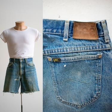 Vintage Lee Cut Off Jeans Shorts / Vintage Broken In Jean Shorts / Denim 32 waist / Vintage Lee Jean Shorts / 1970s Lee Cut Off Shorts by milkandice
