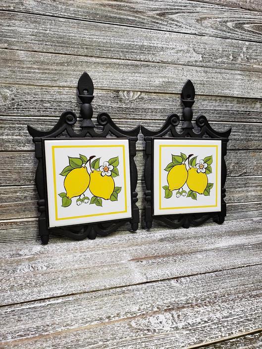 Vintage Lemon Tile Trivets Pair Hanging Kitchen Decor Hot