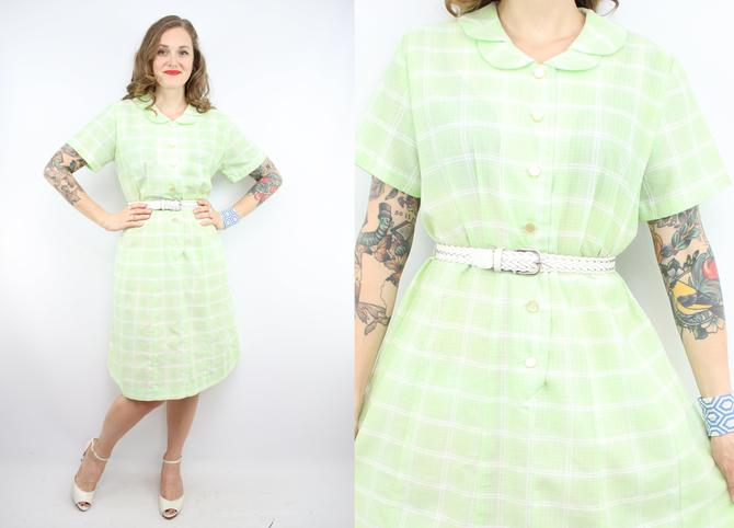 Vintage 60\'s Light Green Day Dress / 1960\'s Summer Dress / Peter Pan Collar  / Women\'s Size XL - Plus Size 1X by RubyThreadsVintage