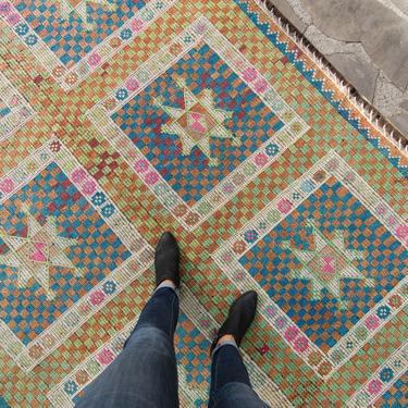 """Vintage 6'3"""" x 10'6"""" Geometric Mint Orange Blue Flatewoven Low-Pile Rug Wool 1940s - FREE DOMESTIC SHIPPING by HouseofSeance"""