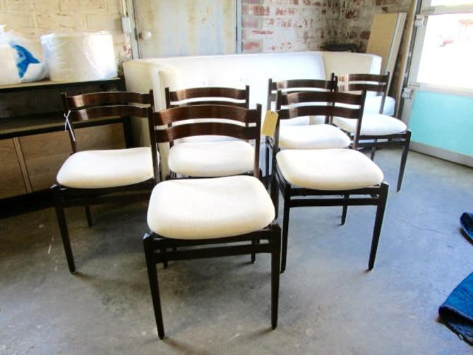 SET OF SIX MID CENT MODERN DANISH CHAIRS WITH NEW UPHOLSTERY