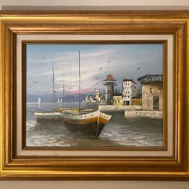 Vintage Nautical Landscape Oil on Canvas Painting Signed by MSGEngineering