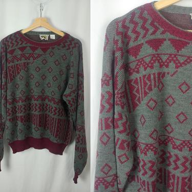 Vintage Men's Le Tigre 80s Gray Maroon Acrylic Knit Pullover Sweater - Men's Medium Eighties Print Sweater by JanetandJaneVintage
