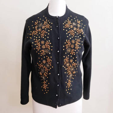 1950s Beaded Cardigan Black Wool Orange Rhinestones / 50s Button Down Sweater Embroidered Floral Star Sun Motif /Large / Edelie by RareJuleVintage
