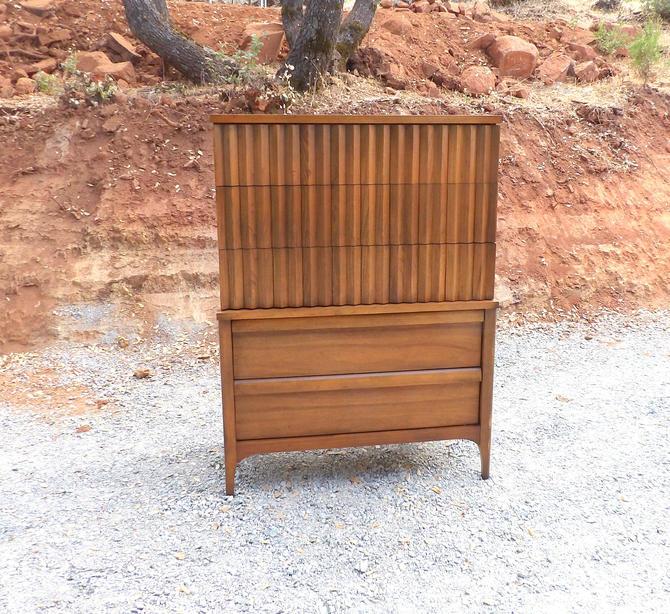 Lane Brutalist Walnut 5 Drawer Tall Profile Dresser High Boy Cabinet Mid Century Modern Walnut Paul Mccobb Kent Coffey Thomasville Drexel by MakingMidCenturyMod