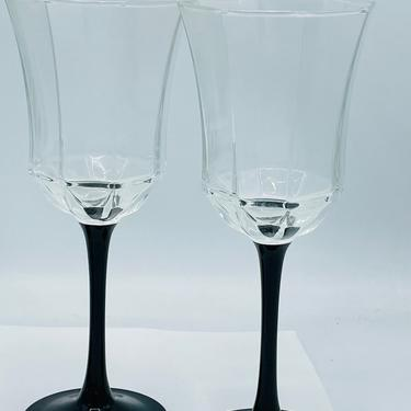 "Vintage Set of two Octime Luminarc France 8 1/4"" Octagon Black Stem Wine Glasses by JoAnntiques"