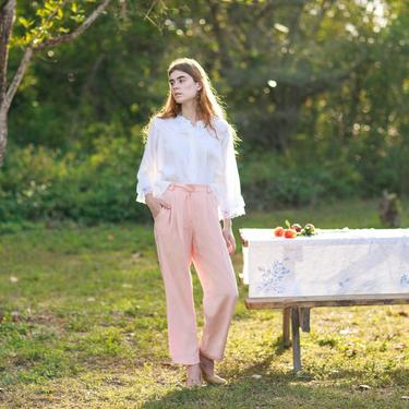 80s Pink Soft Rose Silk Trousers Vintage Pastel Shimmery Classic Pants by AppleBranchesVintage