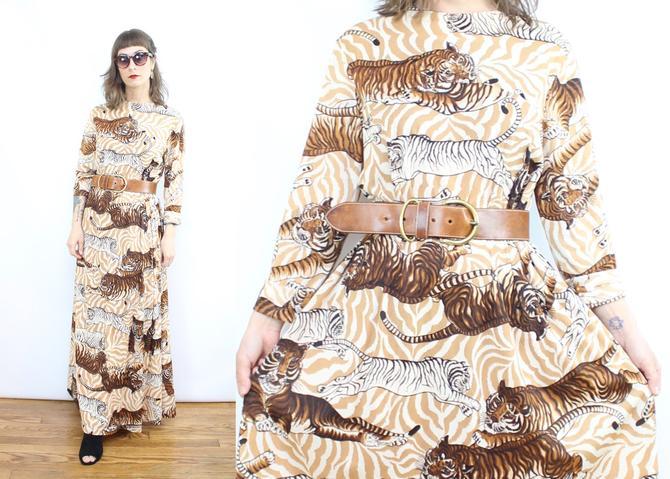 Vintage 70's TIGER Maxi Dress / 1970's Big Cat Dress / Women's Size Medium Large by RubyThreadsVintage