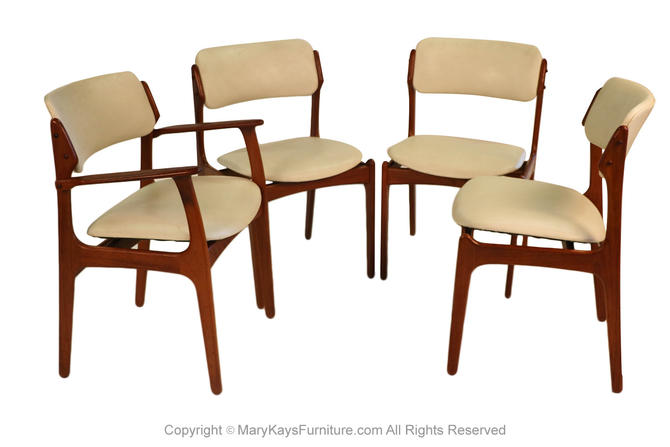 Mid Century Erik Buch for Oddense Maskinsnedkeri A/S Teak Dining Chairs Model 49 by Marykaysfurniture