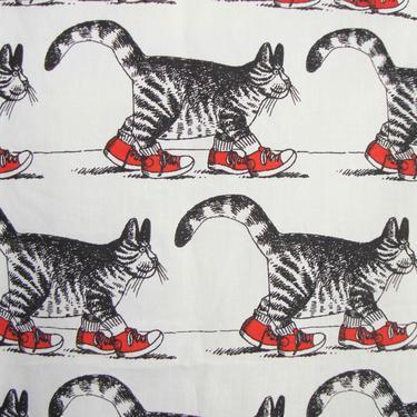 Vintage Kliban Cats Fabric Novelty Cat Print 1.5 Yds by MetroRetroVintage