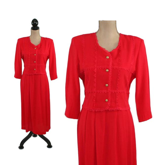 90s Long Sleeve A Line Red Dress Medium, Modest Day Office, 1990s Clothes Women, Vintage Clothing from Miss Dorby Petite Size 8 by MagpieandOtis