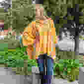 Hooded Kimono Cardigan with Pockets in Yellow