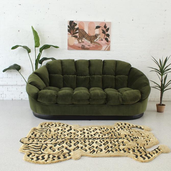 Olive Green Paneled Sofa