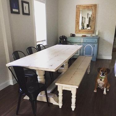 Round Pedestal Farmhouse Dining Table by HickoryandHaze