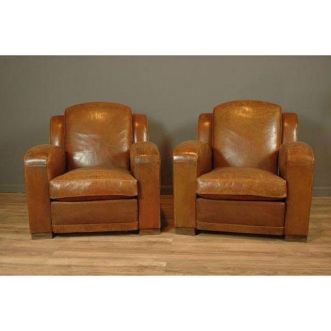 La Manche 1940s French Club Chairs