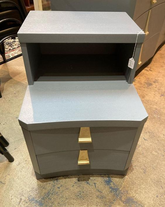 """Gray painted nightstand, 2 drawers and a cubby. 18"""" x 21.5"""" x 25"""""""