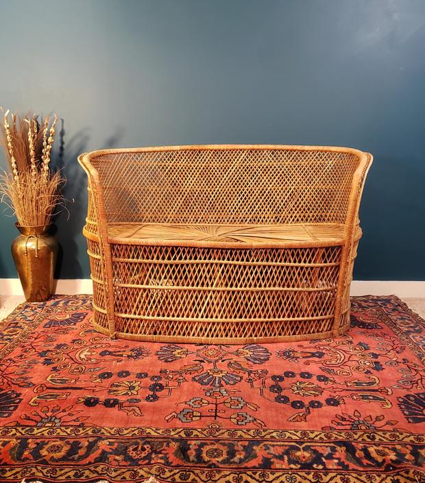 FREE SHIPPING! Vintage Boho Bench | Wicker Fan-Back Peacock Style Love Seat | Two Seat Rattan Settee Sofa II by SavageCactusCo
