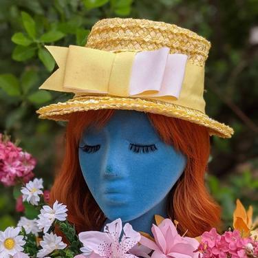 Smart Mod Vintage 60s Yellow Taffeta Brim Hat with Big Bow by RETMOD