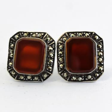 30's Art Deco 925 silver carnelian marcasite square statement studs, sterling dark red stone pyrite geometric post earrings by BetseysBeauties