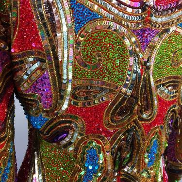 Vintage Naeem Kahn gown glass sequined silk handbeaded paisley design by MamaTequilasVintage