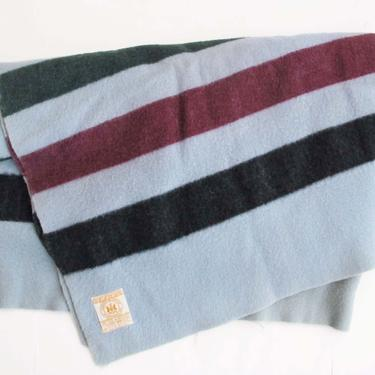 Vintage Hudson Bay 4 Point Wool Blanket - Striped Wool Blanket - Multicolor Light Blue Hudson Blanket - Fall Winter Farmhouse Bedroom by MILKTEETHS