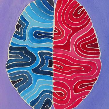 Both Sides Brain -  original watercolor painting - neuroscience art by artologica
