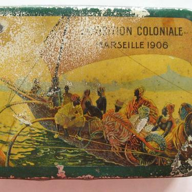 Coste Biscuits 1906 EXPOSITION COLONIALE Marseille Lithographed Tin Box, Antique French Biscuit Tin, Biscuiterie Coste Marseille France by eClectricityVintage