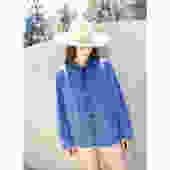 French Chore Coat // vintage 70s indigo faded hippy jean jacket boho hippie blouse shirt dress 1970s denim work painters // O/S by FenixVintage