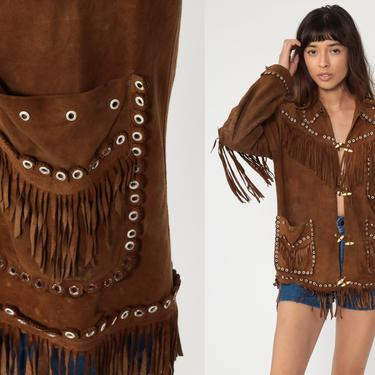 Suede Fringe Jacket 70s Brown Leather Mexican Jacket Boho Vintage Southwest Western Hippie Coat Vintage Bohemian 1970s Small Medium by ShopExile