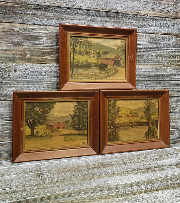 Vintage Farm Prints, Country Art Prints, Covered Bridge, Barns, Farmhouse, Pond Framed Art, Vintage 1960s Wall Decor, Vintage Wall Hanging by AGoGoVintage