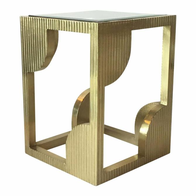 Currey & Co. Modern Brass Foil and Glass Morneao Side Table