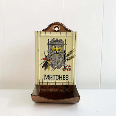 Vintage Early American Metal Match Safe Well Holder Cheinco Copper Eagle Mid-Century Antique Tin Ad Mantique Rustic Americana Kitsch Kitchen by CheckEngineVintage