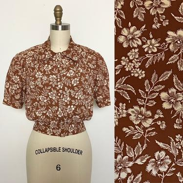 Vintage 1940s Blouse 40s Cold Rayon Floral Brown and White Cropped Top by littlestarsvintage