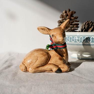 Vintage Ceramic Christmas Reindeer Hand Painted Figurine   Minimalistic, Modern, Holiday   Bohemian, Boho, Table Art, Festive Home Decor by TheVault1969