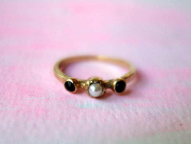 Black and White Cookie Ring- 14k Yellow Gold with pearl and black onyx by RachelPfefferDesigns