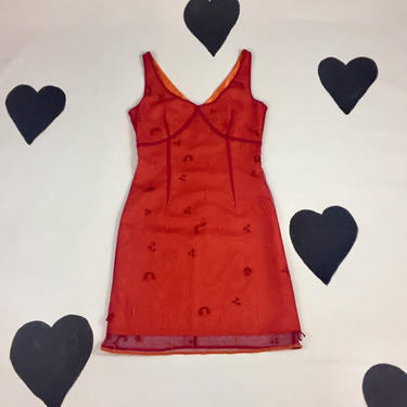 90's Y2K Express World Brand orange red mesh overlay dress 1990's cyber raver party girl club kid beaded sheer net satin dress XS S 3 4 by verybestvintage