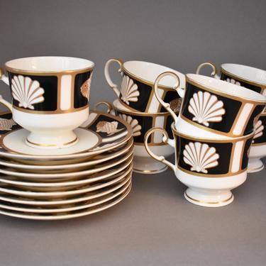 Pedestal Coffee Tea Cups | Vintage Mikasa Bone China | Seashore Pattern | MCM Shells Fish | Black White Gold | NOLA Saints | Beach Coastal by LostandFoundHandwrks