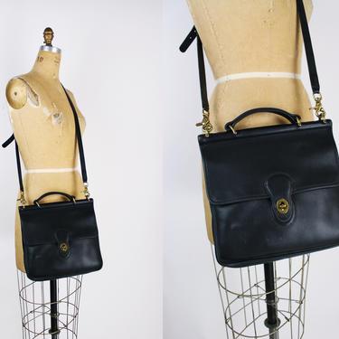 Vintage Black COACH Crossbody Saddle Bag / Purse / Vintage Coach / Leather Bag / Black Purse / Willis bag station/ by PARASOLvintage
